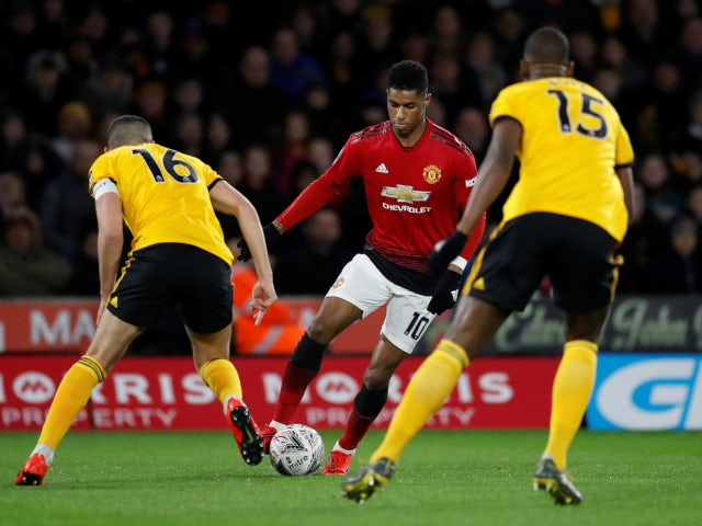 Marcus Rashford pictured during Manchester United's FA Cup quarter-final tie with Wolverhampton Wanderers on March 16, 2019