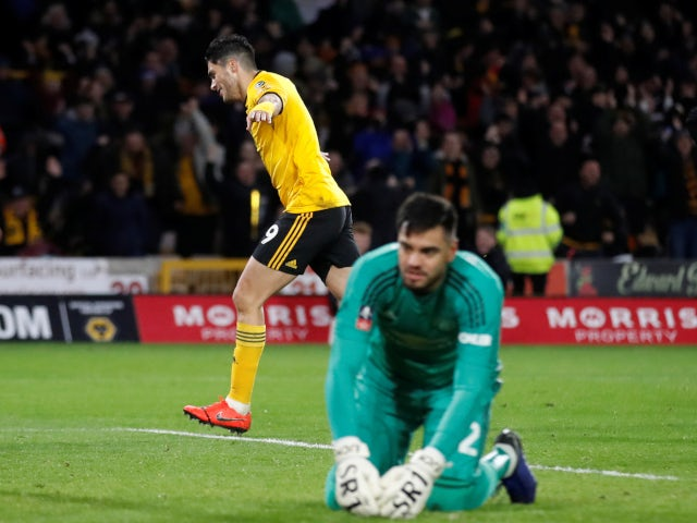 Raul Jimenez celebrates after opening the scoring for Wolverhampton Wanderers against Manchester United on March 16, 2019