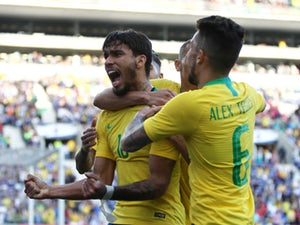 Brazil's Lucas Paqueta celebrates scoring against Panama on March 23, 2019