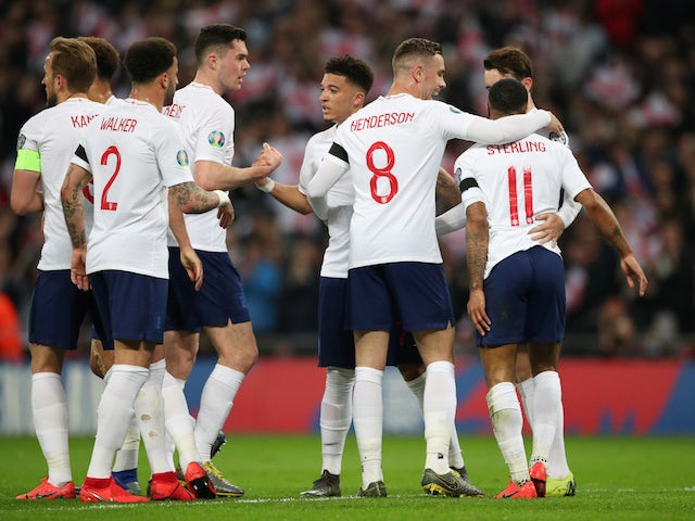 England players celebrates scoring against Czech Republic on March 22, 2019