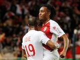 Gelson Martins celebrates scoring for Monaco against Lyon in February 2019