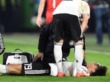 Germany's Leroy Sane lies injured on March 20, 2019