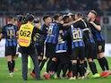 Inter Milan players celebrate beating AC Milan on March 17, 2019