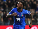 Moise Kean celebrates scoring for Italy on March 23, 2019
