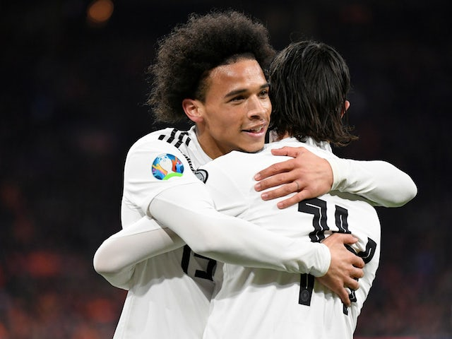 Germany's Leroy Sane celebrates his goal against Netherlands in their Euro 2020 qualifier on March 24, 2019