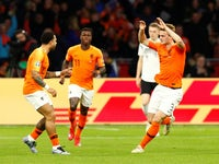 Netherlands's Matthijs de Ligt celebrates scoring against Germany in their Euro 2020 qualifier on March 24, 2019