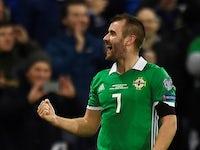 Northern Ireland's Niall McGinn celebrates scoring their first goal against Estonia on March 21, 2019