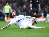 Leeds United's Pontus Jansson down injured on March 16, 2019
