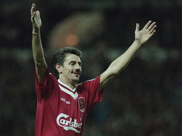 Ian Rush pictured for Liverpool in 1996