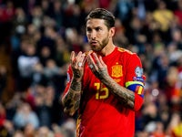 Sergio Ramos celebrates scoring for Spain on March 23, 2019