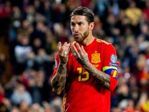 Sergio Ramos celebrates scoring for Spain on March 23, 2019
