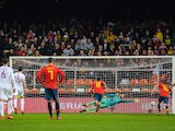 Sergio Ramos converts a penalty to put Spain in front against Norway on March 23, 2019