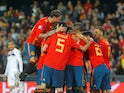 Rodrigo is mobbed by his Spain teammates after opening the scoring in the Euro 2020 qualifier against Norway on March 23, 2019