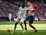 Atletico Madrid's Nikola Kalinic in action with Getafe's Djene Dakonam during a La Liga match in January 2019