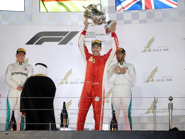 Sebastian Vettel celebrates winning the Bahrain Grand Prix in 2018