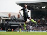 Bernardo Silva celebrates scoring Manchester City's first goal against Fulham in the Premier League on March 30, 2019