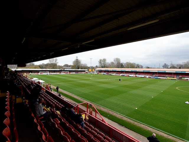 General view of Crawley Town's Broadfield Stadium from March 2019