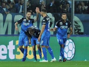 Empoli's Francesco Caputo celebrates scoring against Juventus in their Serie A clash in October, 2018
