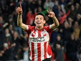 PSV Eindhoven's Hirving Lozano celebrates scoring against Tottenham Hotspur in October 2018