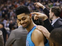 Jeremy Lamb reacts to a replay of his incredible winning shot for the Charlotte Hornets on March 24, 2019