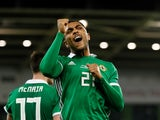 Josh Magennis celebrates scoring for Northern Ireland on March 24, 2019