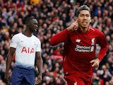 Liverpool's Roberto Firmino celebrates scoring against Tottenham Hotspur in the Premier League on March 31, 2019