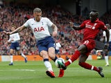 Liverpool's Sadio Mane in action with Tottenham Hotspur's Toby Alderweireld in the Premier League on March 31, 2019