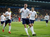 Michael Keane celebrates scoring England's leveller against Montenegro in their Euro 2020 qualifier on March 25, 2019