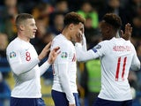 England players celebrate Ross Barkley's goal against Montenegro in their Euro 2020 qualifier on March 25, 2019