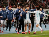 Angel Correa celebrates scoring a late winner for Argentina away to Morocco on March 26, 2019