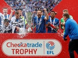 Portsmouth celebrate winning the EFL Trophy on March 31, 2019