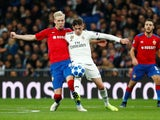 Real Madrid's Federico Valverde in action with CSKA Moscow's Hordur Magnusson during a Champions League clash in December 2018