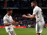 Karim Benzema reacts to Real Madrid's second goal against Huesca on March 31, 2019