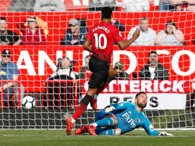 Manchester United's Marcus Rashford scores past Watford's Ben Foster in the Premier League on March 30, 2019