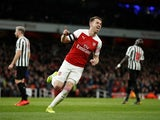 Aaron Ramsey celebrates after opening the scoring in Arsenal's Premier League clash with Newcastle United on April 1, 2019