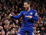 Eden Hazard celebrates scoring for Chelsea on April 3, 2019