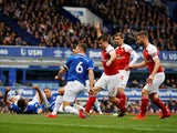 Everton's Phil Jagielka scores against Arsenal in the Premier League on April 7, 2019