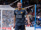 Jamie Vardy gets his tongue out after scoring for Leicester City on April 6, 2019