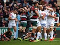 Exeter Chiefs celebrate scoring a try against Leicester Tigers on April 6, 2019