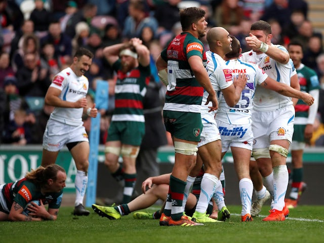 Result: Tom Youngs sees red as Exeter thump Leicester