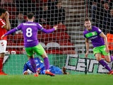 Adam Webster celebrates scoring for Bristol City against Boro on April 2, 2019