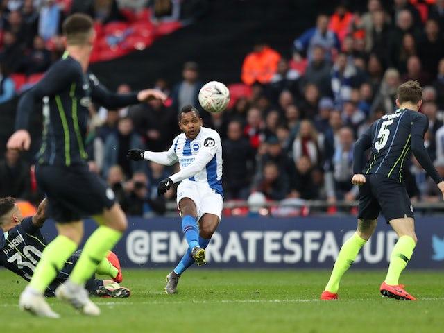 Brighton's Jose Izquierdo shoots against Man City on April 6, 2019