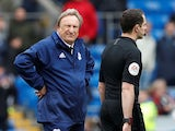 Cardiff boss Neil Warnock stares at the officials after his side's defeat to Chelsea on March 31, 2019