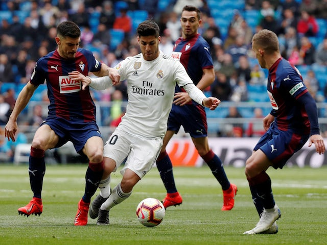 Real Madrid's Marco Asensio in action against Eibar in La Liga on April 6, 2019