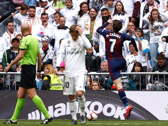 Eibar's Marc Cardona celebrates scoring against Real Madrid in La Liga on April 6, 2019