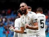 Real Madrid forward Karim Benzema celebrates scoring against Eibar in La Liga on April 6, 2019