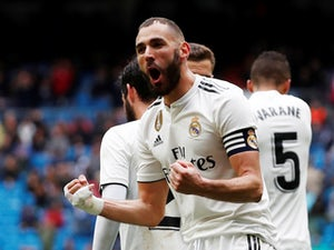 Real Madrid forward Karim Benzema celebrates scoring against Eibar in La Liga on April 6, 2019