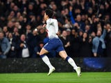 Son Heung-min celebrates scoring Spurs' first ever league goal at their new stadium on April 3, 2019