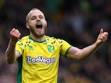 Norwich City striker Teemu Pukki celebrates scoring against QPR on April 6, 2019