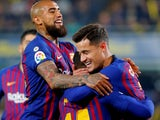 Barcelona midfielder Philippe Coutinho celebrates opening the scoring against Villarreal on April 2, 2019